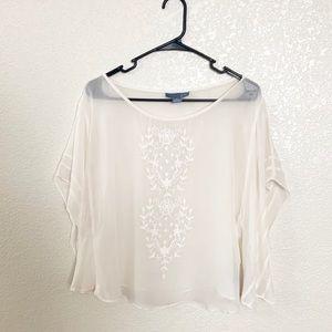 Anthropologie Lil 100% Silk White Blouse S/S 6